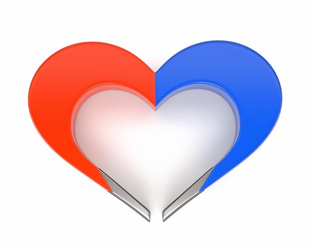 Herz-magnet lokalisiert auf weißem hintergrund. das konzept, liebe, glück und familienbeziehungen anzuziehen. 3d darstellung.