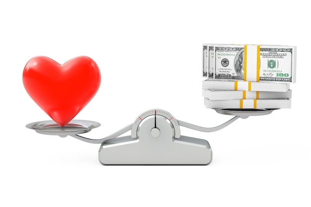 Herz mit geldausgleich auf einer einfachen gewichtungsskala auf weißem hintergrund. 3d-rendering.