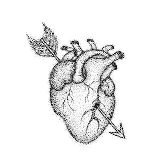 Herz mit pfeil dotwork. raster-illustration des boho-art-t-shirt-designs. hipster tattoo hand gezeichnete skizze.