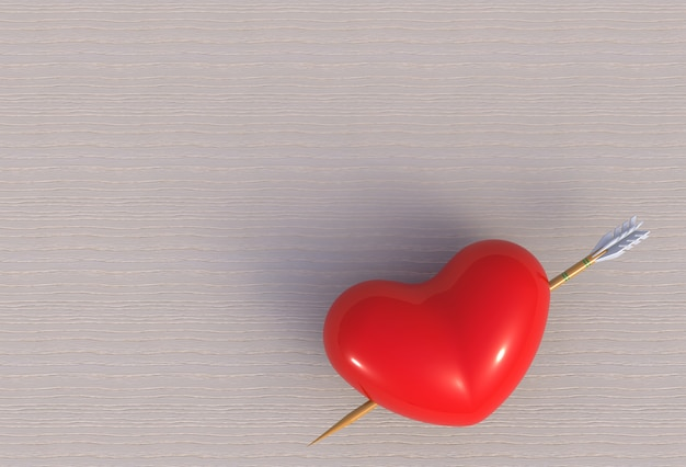 Herz mit pfeilbogenschütze, wiedergabe 3d