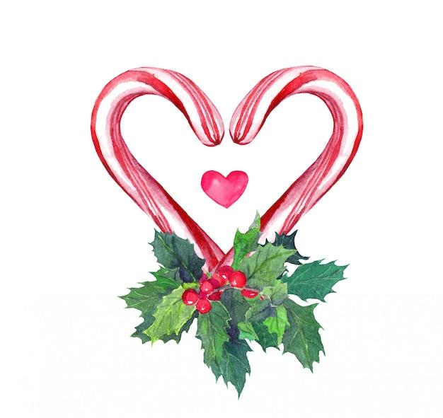 Herz mit zuckerstange und mistel. aquarell für weihnachten