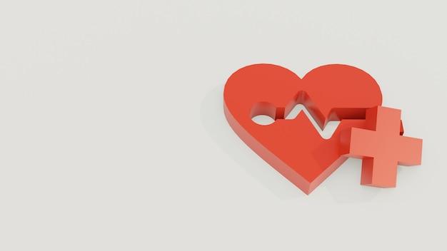 Herz oder liebe 3d modell mit pluszeichen