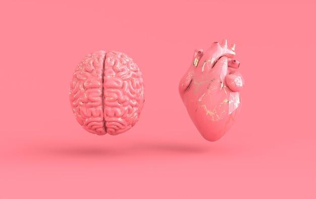 Herz und gehirn 3d-rendering emotionen und rationales denken konfliktkonzept