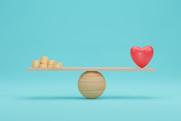 Herz- und geldwaagenkonzept. bedeutung zwischen goldmünze und liebeswaage auf der skala. 3d-rendering.
