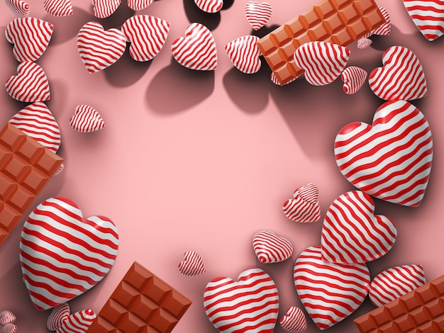 Herz und schokolade mit leerem raum auf der mittelseite. 3d-rendering