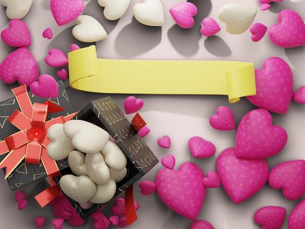 Herz- und schokoladenkasten mit leerem gelbem bandraum auf der mittelseite. 3d-rendering
