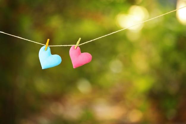 Herzen hängen an wäscheklammern auf grünem hintergrund
