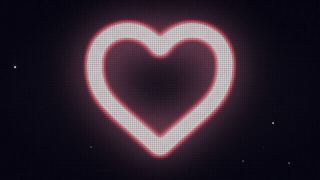 Herzform auf digitalem bildschirm. verschiedene farben und formen in meinem profil.