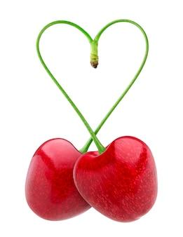 Herzform aus zwei kirschen weiß