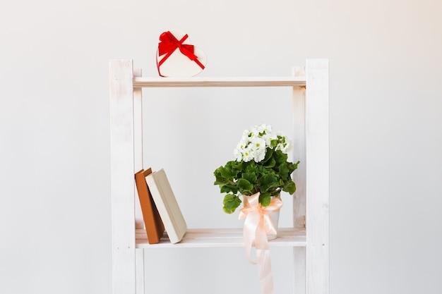 Herzform geschenkbox und bücher und zimmerpflanze auf einem bücherregal