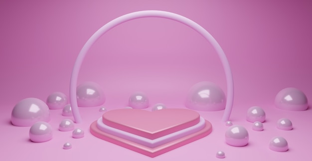 Herzform-liebespodium mit abstraktem blasenelement im rosa