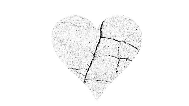 Herzform mit schwarzer und weißer textur auf weißem hintergrund