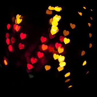Herzförmige helle Lichter