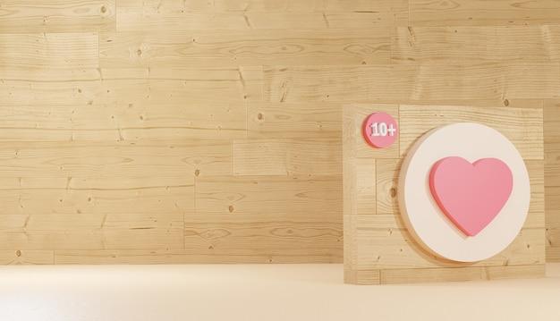 Herzsymbol und logo auf holzbrett minimaler 3d-hintergrund, der das zeichen des sozialen netzwerks premium rendert
