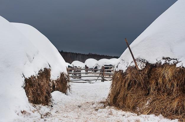 Heuschober auf dem land im kalten winter