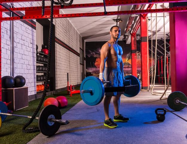 Hex dead lift shrug bar deadlifts-mann in der turnhalle