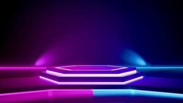 Hexagon-bühne und violettes neonlicht