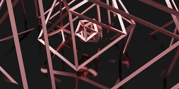 Hexagon elegante strukturlinien schwarzes roségold 3d-darstellung