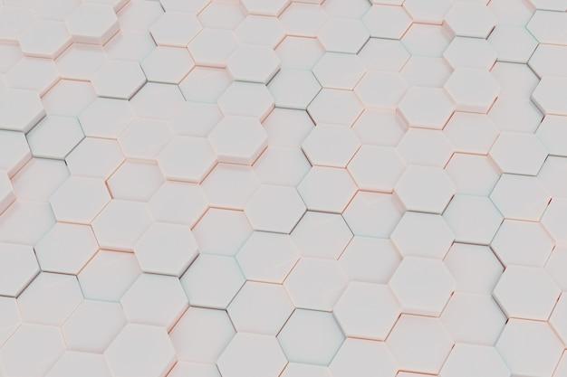 Hexagon-fliesen-hintergrundmuster mit weichem pastell-colot-licht. 3d-rendering
