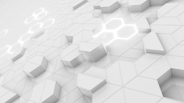 Hexagon-muster auf weißem hintergrundhexagonal-molekül-strukturwissenschafts- und technologiekonzept
