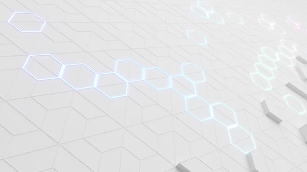 Hexagon-muster auf weißem hintergrundhexagonale molekülstruktur auf weiß