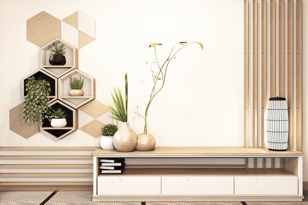 Hexagon-regal und fliesen auf hölzernem japanischem stil der wand und des kabinetts im raum minimal