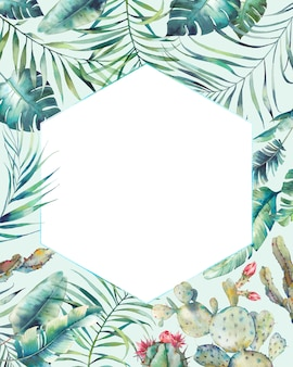 Hexagon tropische pflanzen rahmen. hand gezeichnete sommerkarte mit sukkulenten, exotischen zweigen, bananenblättern, palme auf hellblauem hintergrund. gruß- oder logo-vorlage.
