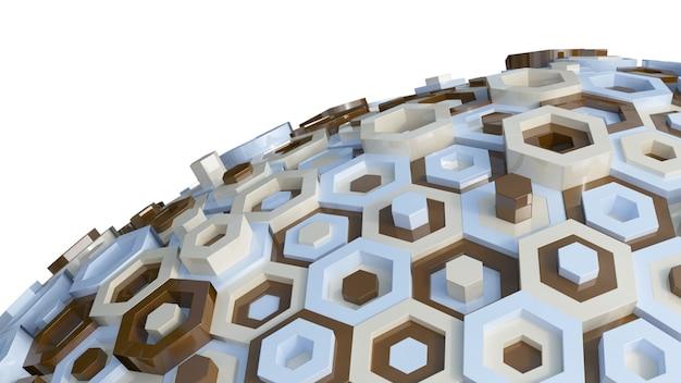 Hexagone in verschiedenen farben in der sphäre