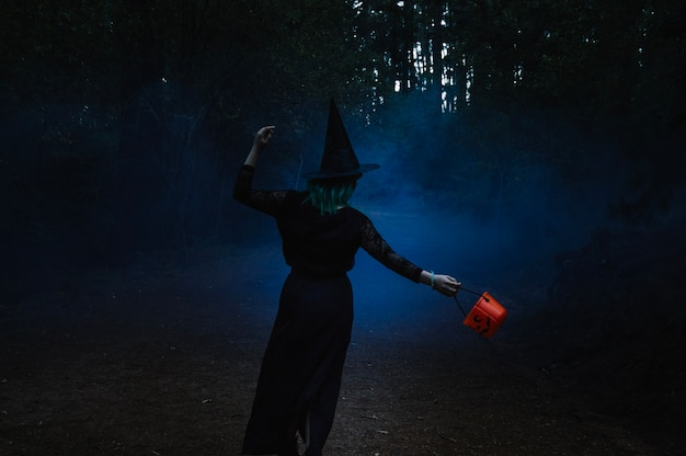 Hexe geht durch nebligen wald