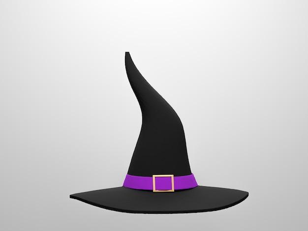 Hexenhut auf weißem hintergrund für halloween-tag. 3d-render, 3d-darstellung.