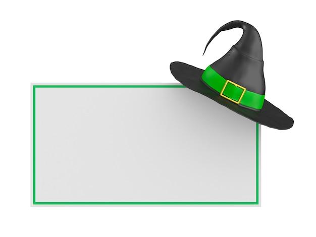 Hexenhut und banner auf weißem hintergrund. isolierte 3d-darstellung