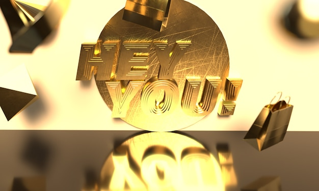 Hey you banner mit gold style