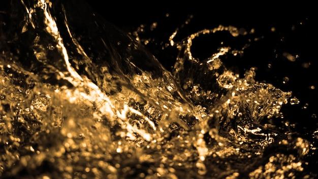 Hi-speed-nahaufnahme von ölflüssigkeit aus dieselbenzin, die spritzt und sich in die luft bewegt
