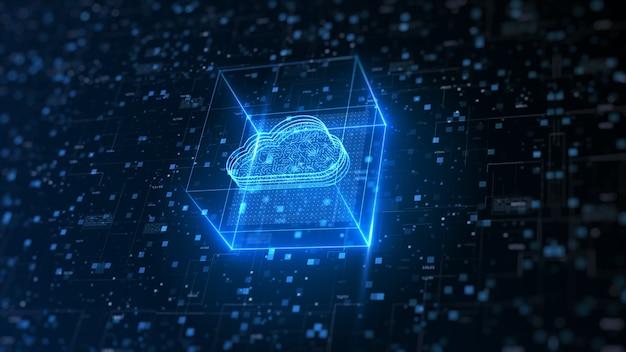 Hi-tech-cloud-computing und cybersicherheit.