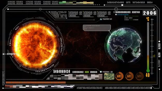 Hi-tech-hintergrund für digitale daten und informationen. konzept der globalen erwärmung. erdelement von der nasa eingerichtet