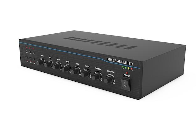 Hifi-stereo-mixer-verstärker auf weißem hintergrund. 3d-rendering