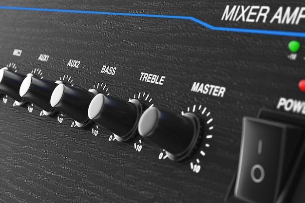 Hifi stereo-mixer-verstärker extreme nahaufnahme. 3d-rendering