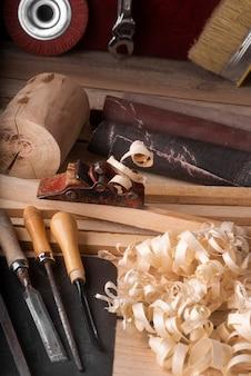 High angle artisan jobs ausrüstung sortiment
