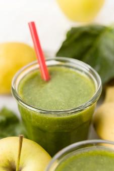 High angle avocado smoothie glas