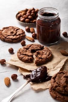 High angle chocolate goodies sortiment
