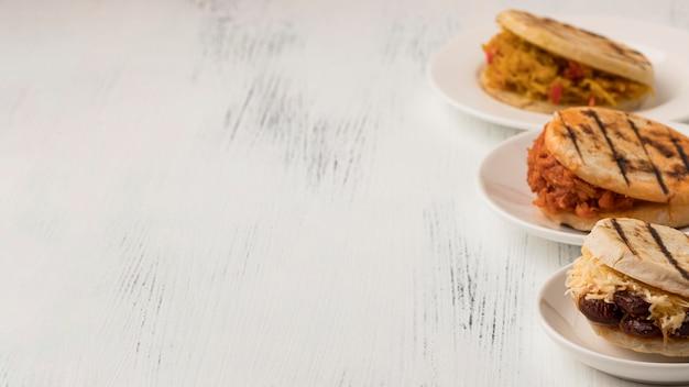 High angle food frame mit kopierraum