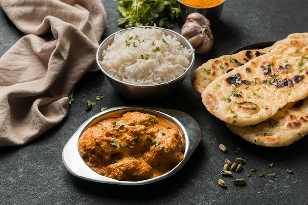 High angle indian food arrangement