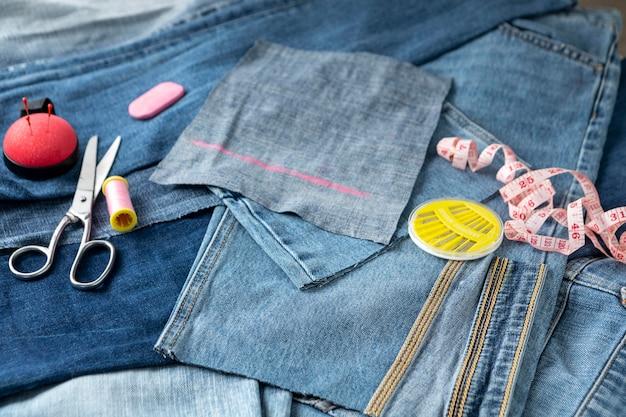 High angle jeans und schere