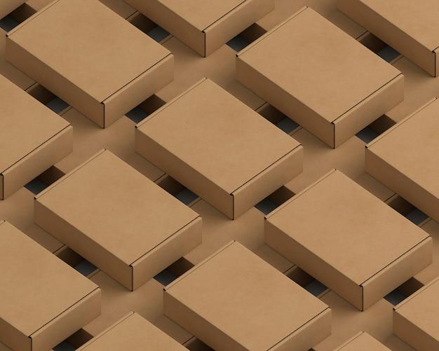 High angle karton pakete sortiment