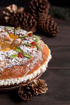 High angle leckere epiphany day food zusammensetzung