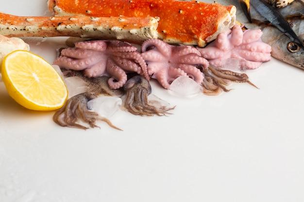 High angle octopus und hummer mit zitrone