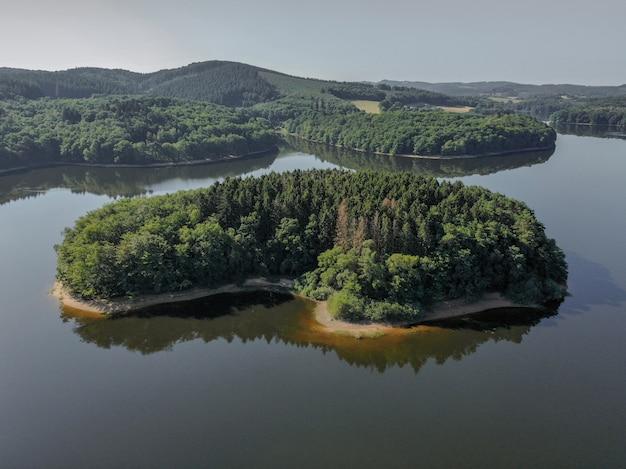 High angle shot eines ufers bedeckt mit bäumen im meer mit einem klaren blauen himmel