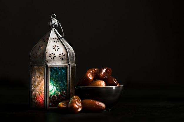 High angle snacks für den ramadan tag