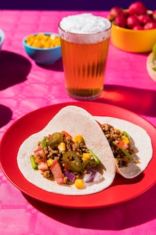 High angle tacos und bier arrangement
