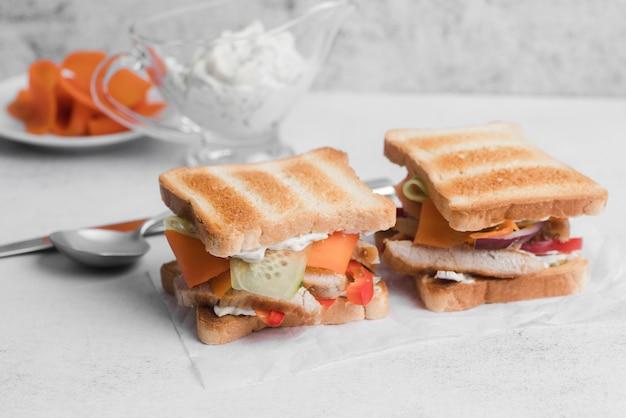 High angle toast sandwiches
